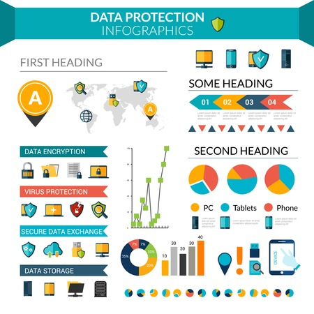 protected database: Data protection infographics set with safe information storage symbols and chart vector illustration