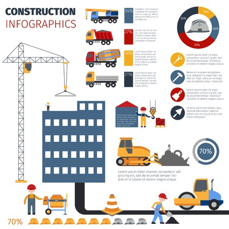 industrial construction: Construction and builder infographics set with industrial symbols and charts vector illustration