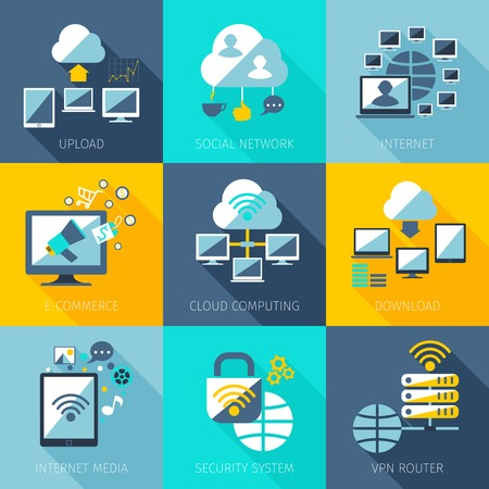 hosting: Network concept set with upload social network internet icons set isolated vector illustration