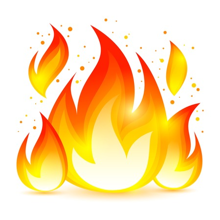 flame: Bright dangerous fire flame with sparks colored decorative icon vector illustration