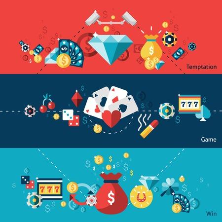 ruleta de casino: Casino banner horizontal conjunto con elementos de victorias de juego de la tentación ilustración vectorial aislado Vectores