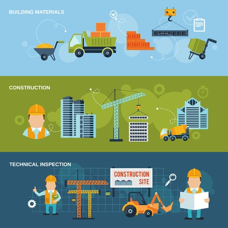 advertising material: Construction horizontal banners set with building materials technical inspection isolated vector illustration Illustration