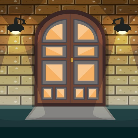 entrance door: Classic doorway brickwall house facade with home entrance door and lights vector illustration