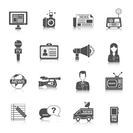 news van: Journalist newspaper and tv journalism profession icon black set isolated vector illustration