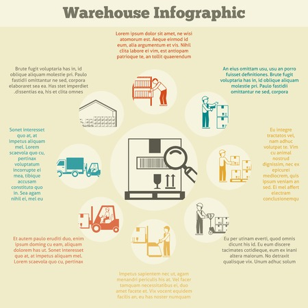 warehouse: Warehouse infographics set with delivery stock searching shipping and transportation symbols vector illustration Illustration