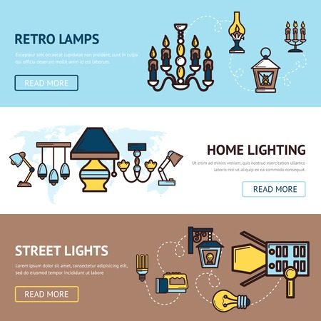 electric torch: Light horizontal banners set with retro street and home lamps elements isolated vector illustration