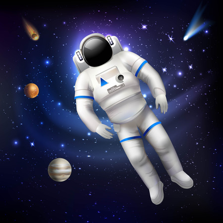 Professional spaceman astronaut in costume floating in outer space vector illustration Illustration
