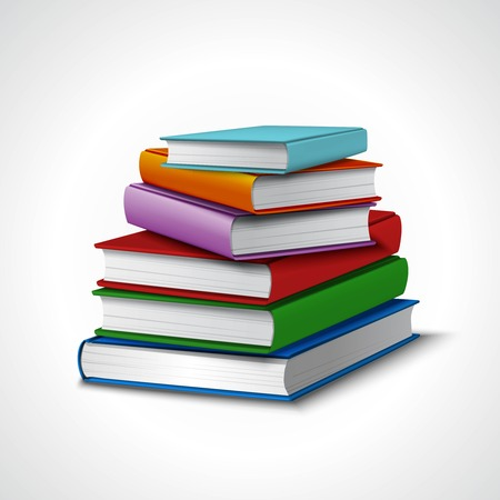 multi coloured: Colored realistic book stack school library education concept vector illustration