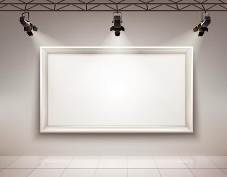 Galerie espace intérieur avec le blanc cadre photo illuminée avec des projecteurs 3D réaliste illustration vectorielle Vecteurs