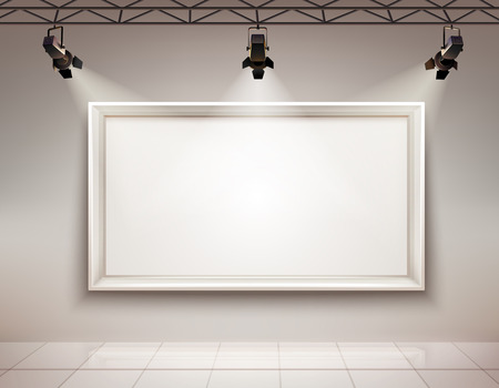 Gallery room interior with blank picture frame illuminated with spotlights realistic 3d vector illustration