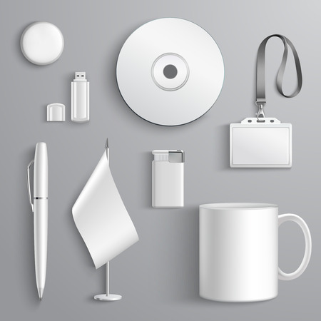 stationary set: White realistic corporate identity set of stationary elements isolated vector illustration