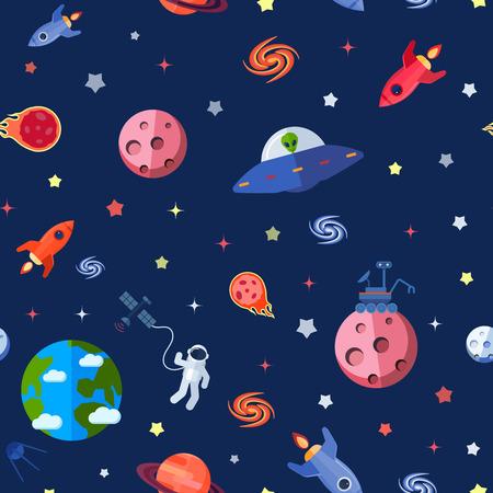 Space travel seamless pattern with meteorites rocket astronaut shuttle vector illustration Vector