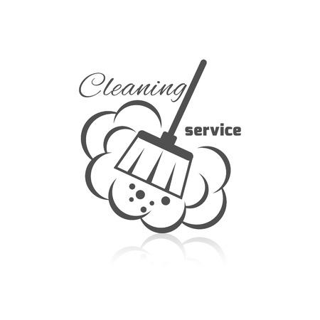 polvo: Limpieza icono de servicio con un cepillo de polvo y burbujas ilustración vectorial