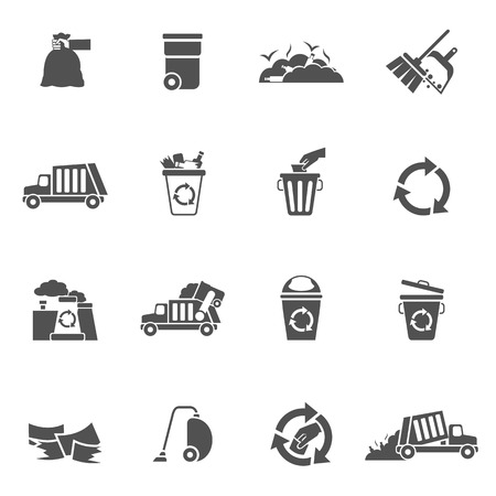 Garbage waste ecology recycling and pollution icons black set isolated vector illustration Vector