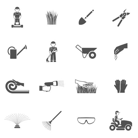 Lawn man farm worker with grass cutting equipment black icon set isolated vector illustration