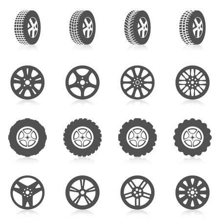 tire: Tire car auto montage service black silhouette icons set isolated vector illustration