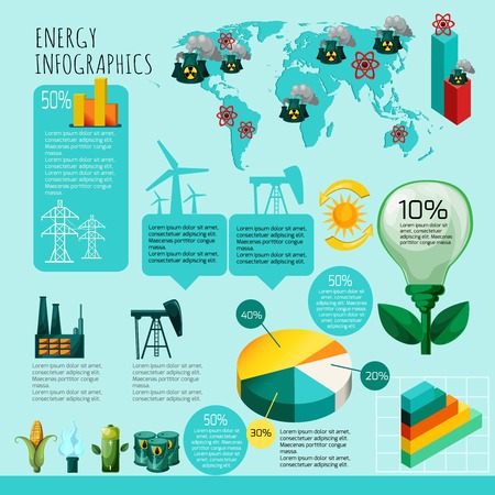 power generation: Energy infographics set with energy and power generation symbols charts and world map vector illustration