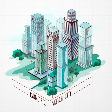Isometric sketch modern city center architectural metropolitan landscape colored vector illustration Illustration