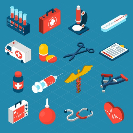 syringe: Medical isometric icons set with first aid kit ambulance syringe isolated vector illustration