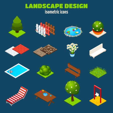 landscape architecture: Landscape gardening outdoors design isometric icons set isolated vector illustration