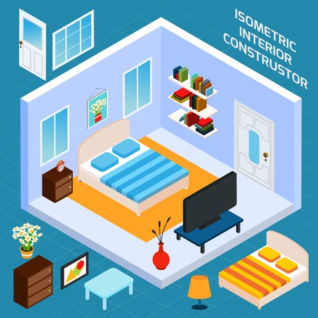 Isometric bedroom blue walls interior with 3d furniture icons set vector illustration Illustration