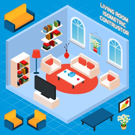 living room wall: Isometric living room interior set with 3d furniture and domestic elements vector illustration