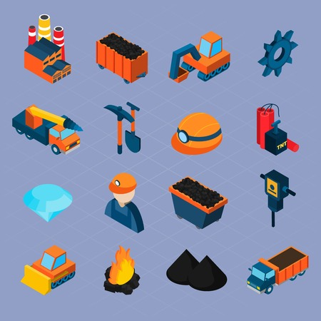 worker: Coal industry isometric icons set with  worker bulldozer mineral extraction isolated vector illustration