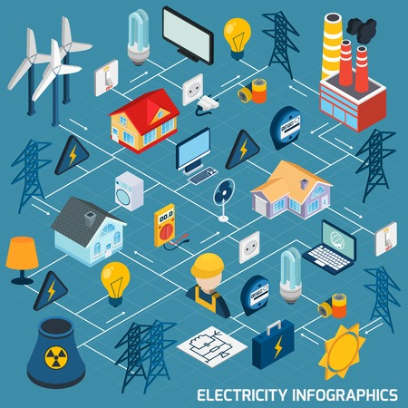 electric line: Electricity isometric flowchart with electric equipment electrician power industry 3d elements vector illustration Illustration