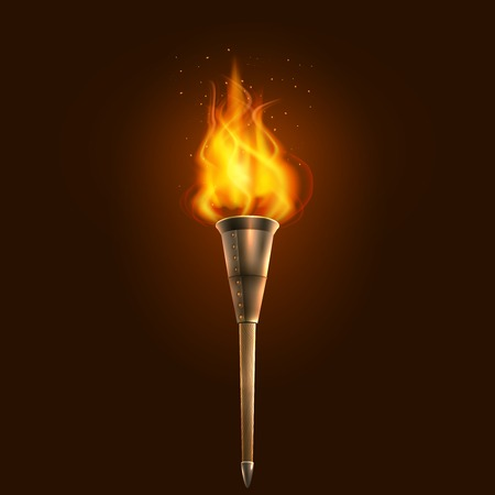 Burning in the dark realistic torch with flame icon abstract vector illustration Иллюстрация