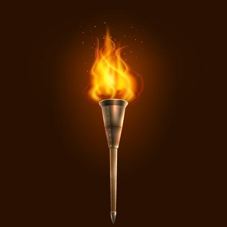 Sensation de brûlure dans la torche réaliste foncé avec l'icône de flamme abstraite illustration vectorielle