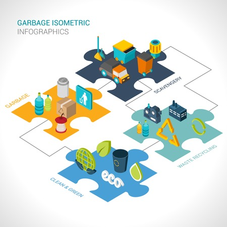 glass recycling: Garbage isometric infographics set with scavengery clean and green waste recycling elements vector illustration