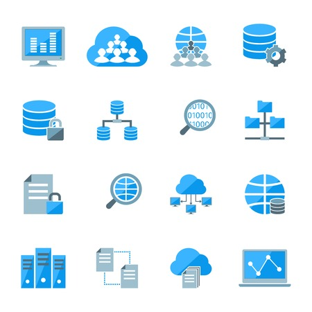 Big data secure exchange and analysis wireless computer centre information storage pictograms collection abstract isolated vector illustration