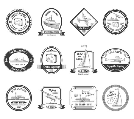 stamp design: Travel agencies air and sea vacation cruises emblems labels collection with yachts black abstract isolated vector illustration