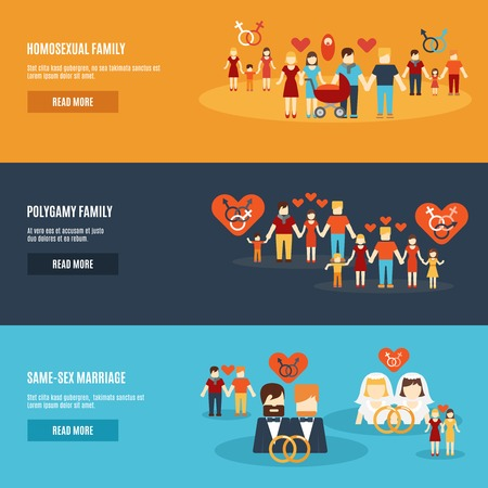 Same sex nontraditional families and polygamy relationship acceptance informative horizontal flat banners set abstract isolated vector illustration