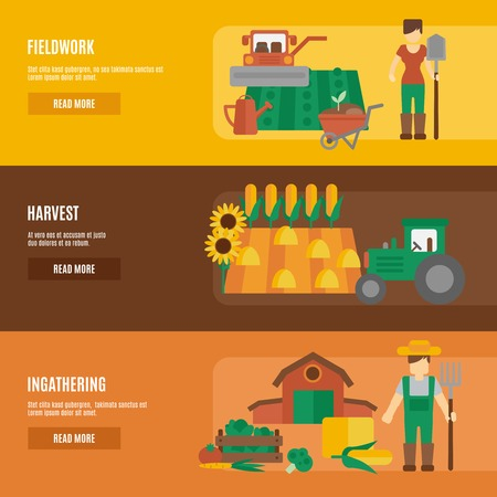 fieldwork: Farmer cartoon character fieldwork harvesting and farmland products ingathering flat horizontal banners set abstract isolated vector illustration