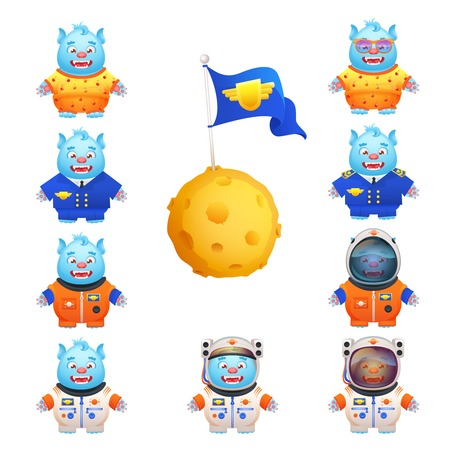funny travel: Funny cute monsters in pajamas space travel suit pilot uniform character cartoon set isolated vector illustration