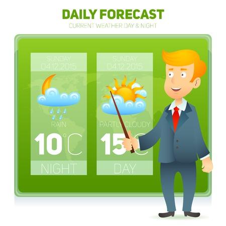 estado del tiempo: Pronóstico predicción meteorológica TV macho noticias reportero de fondo ilustración vectorial Vectores