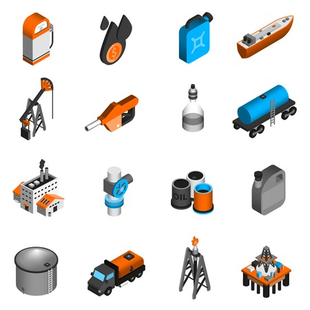 oil tanker: Oil industry gasoline processing petroleum transportation isometric icons set isolated vector illustration