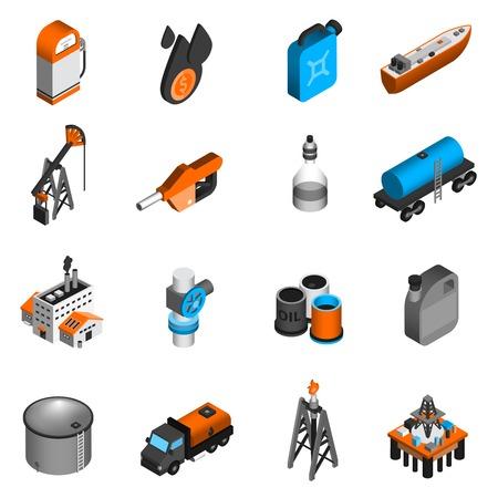 Trasporto di petrolio trasformazione benzina Industria petrolifera icone isometriche set illustrazione vettoriale isolato