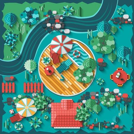 상단: 상위 뷰 정원과 야외 요소 벡터 일러스트와 함께 조경 디자인의 구성