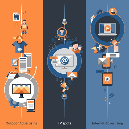 decorative design elements: Advertising banner vertical set with outdoor internet marketing tv spots elements isolated vector illustration