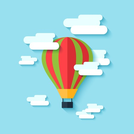 clouded sky: Traditional old drop shape multi colored hot air balloon floating in the clouded sky abstract vector illustration Illustration