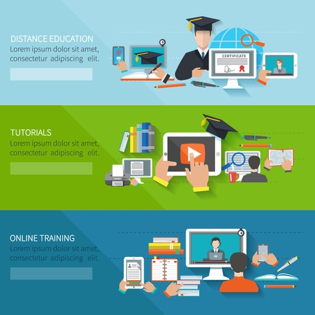 university graduation: Online education flat horizontal banner set with distance tutorials and training elements isolated vector illustration