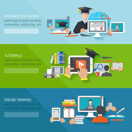 Online onderwijs vlakke horizontale banner met de afstand tutorials en training elementen geïsoleerd vector illustratie Stockfoto - 37344153