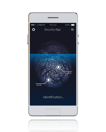 scanning: Realistic phone with mobile security application scanning fingerprints vector illustration