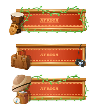 jungle safari: African travel horizontal banner set with expedition and adventure elements isolated vector illustration