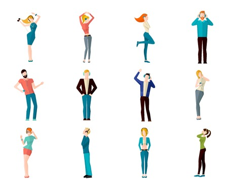 listening to people: Male and female people listening to the music and dancing avatar icons set isolated vector illustration
