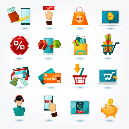 shopping: E-commerce internet delivery online shopping web business decorative icons set isolated vector illustration