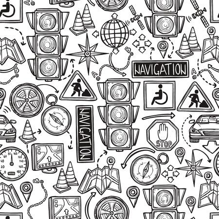 satellite navigation: Mano de navegaci�n sin fisuras patr�n dibujado con las se�ales de tr�fico en el mapa y la ilustraci�n vectorial sat�lite