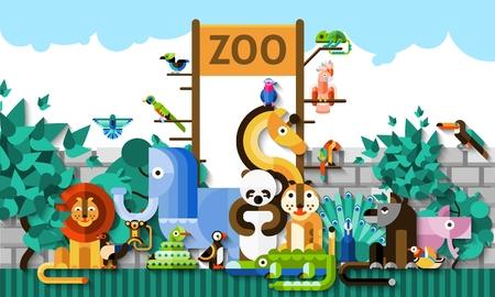 다채로운 종이 아프리카 정글 동물과 조류 벡터 일러스트와 함께 동물원 배경